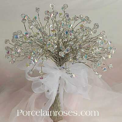 Bride 39s Wedding Bouquet Pretty Crystal And Silk Hand Tied Wedding
