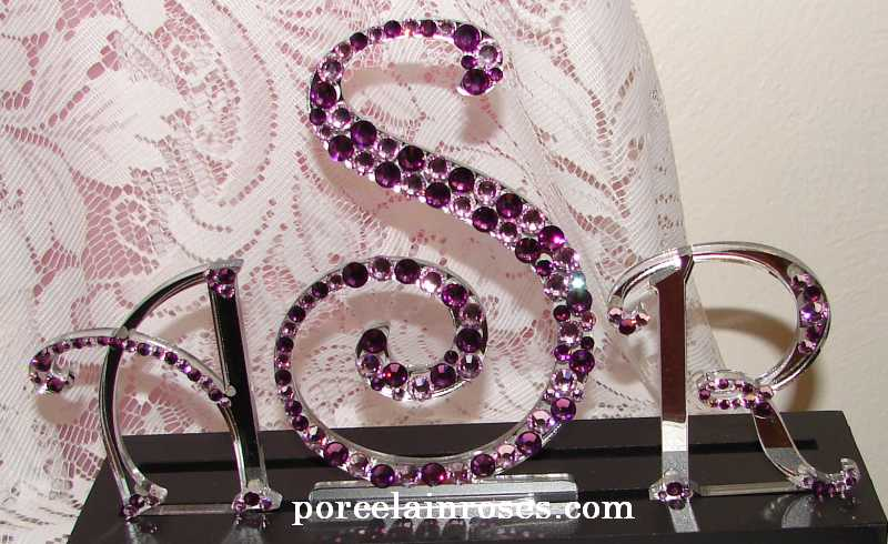 Crystal Monogram Cake Topper in Amethyst