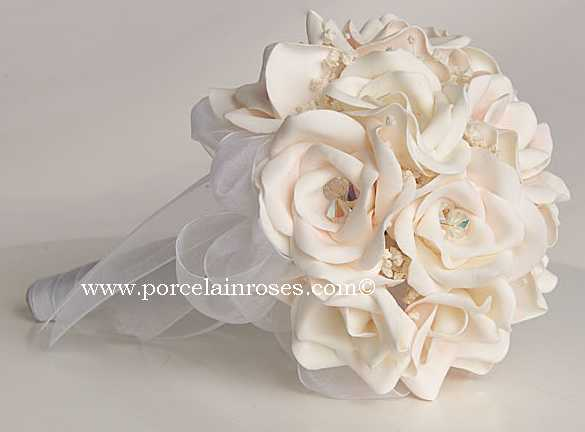 Bridal white rose bouquet