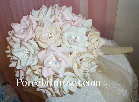 pink and white roses. Deep Ivory, Lt. Pink & White Rose Bridal Bouquet