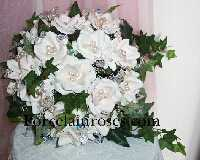 Natural White Rose Bouquet with crystal Stems