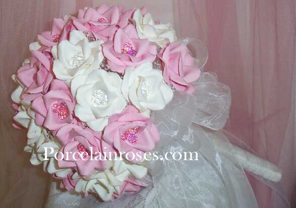 "pink and white roses. extra Large pink and white rose bouquet. 10"" White and Pink Roses"