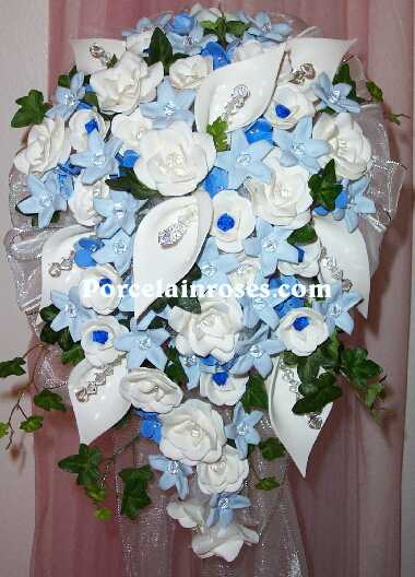 wedding bouquet 477 Porcelain Natural White Lt Blue Blue