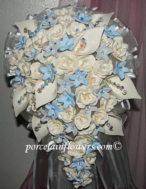 porcelain wedding bouquet Ivory Gray Light Blue Flowers