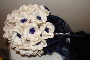 White Rose Bouquet with dark saphire crystals