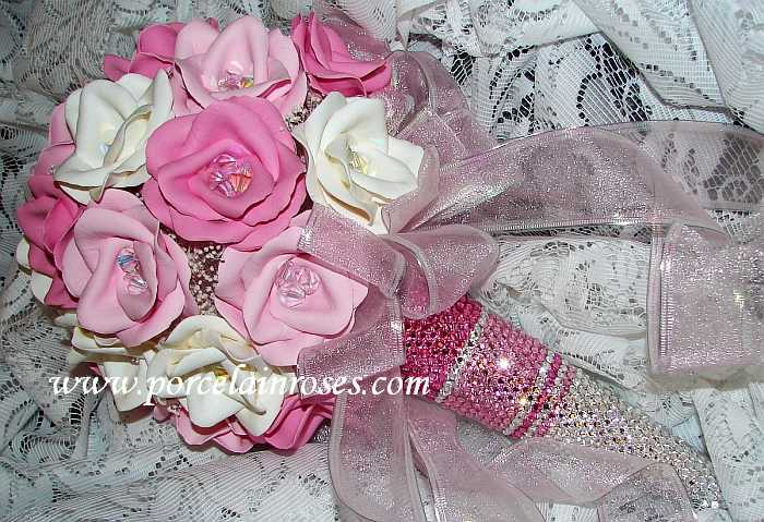 pink and white roses. Pink, Medium Pink and White Roses with a matching Jem-ma Crystal Tussie