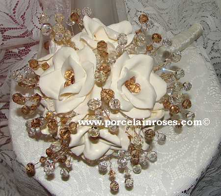 Porcelain Blend Roses with Crystal Stems